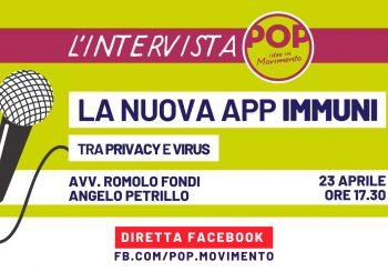 Privacy e l'App Immuni, oggi se ne parla con l'associazione POP, Idee in Movimento