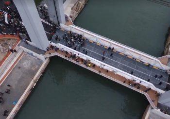 Nuovo ponte Due Giugno, le immagini dall'alto